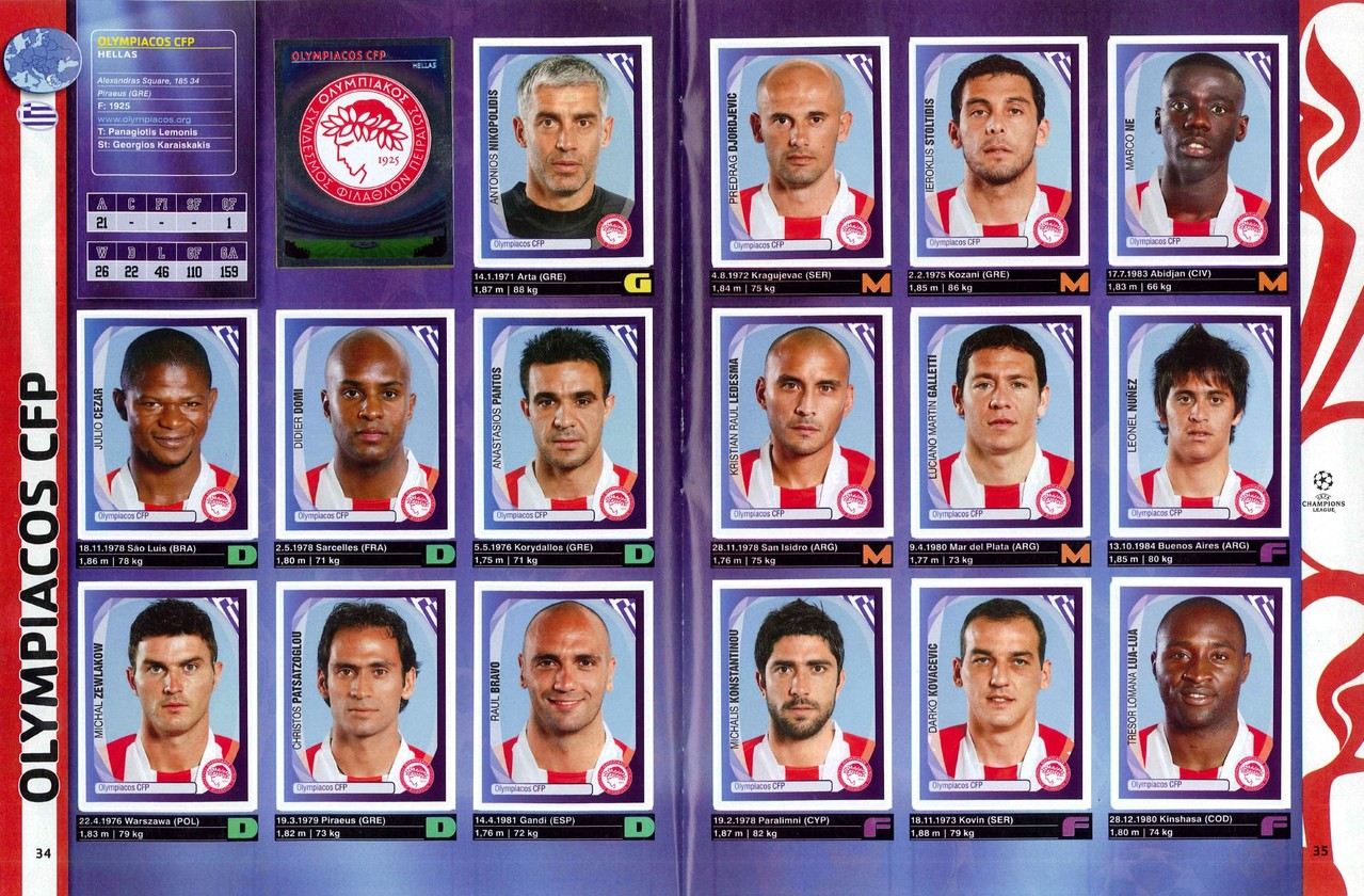 2007-08 - Panini Champions League - Pages 34 et 35 - Olympiakos