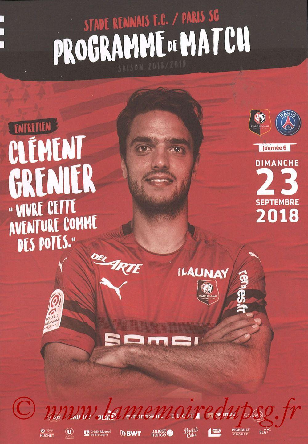 2018-09-23  Rennes-PSG (6ème L1, Programme officiel)