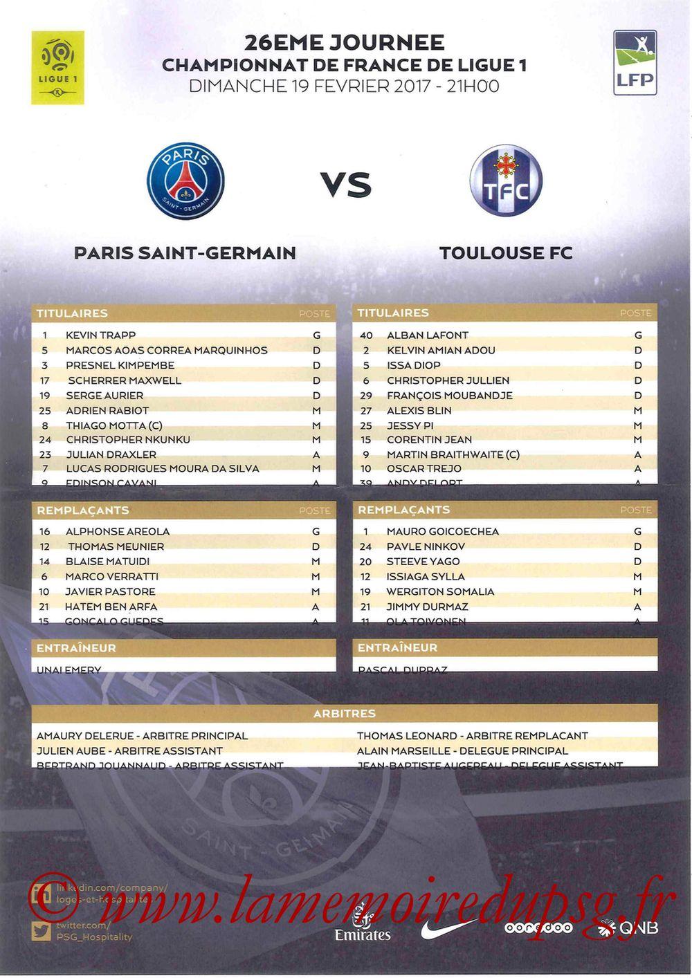 2017-02-19  PSG-Toulouse (26ème L1, Feuille de match)