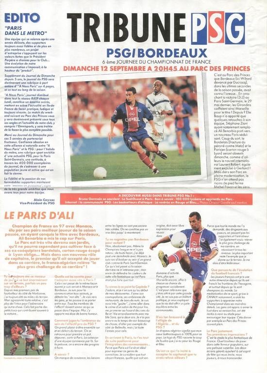 1999-09-12  PSG-Bordeaux (6ème D1, Tribune PSG N°1)