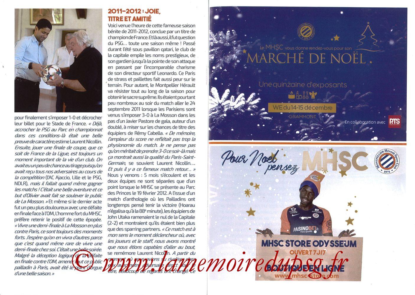 2019-12-07  Montpellier-PSG (17ème L1, L'Echo de la Mosson N°9) - Pages 20 et 21