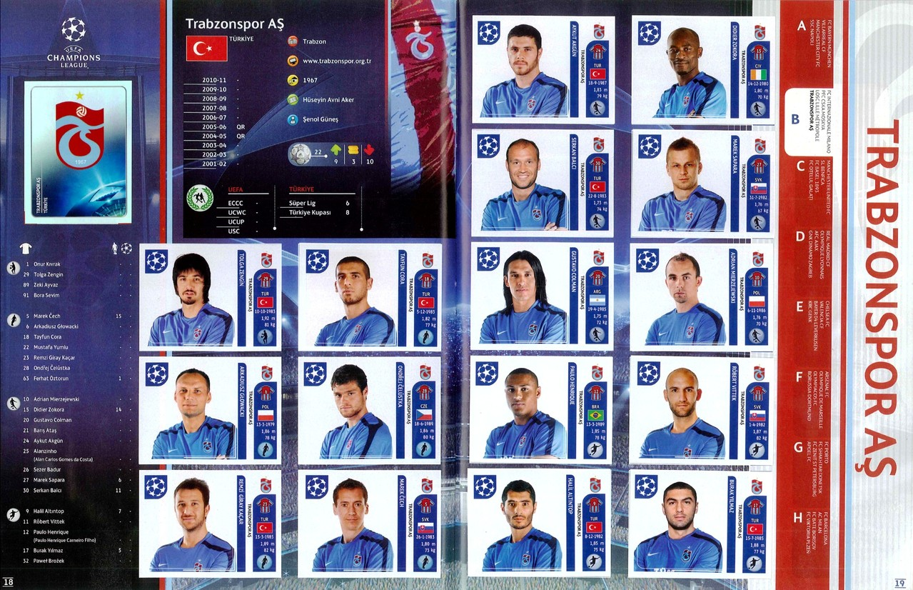 2011-12 - Panini Champions League - Pages 18 et 19 - Trabzonspor AS