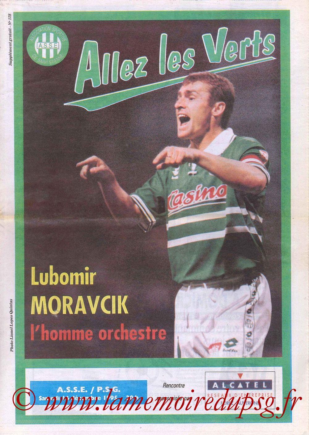 1995-12-16  Saint Etienne-PSG (22ème D1, Allez les Verts N°128) - Page 01