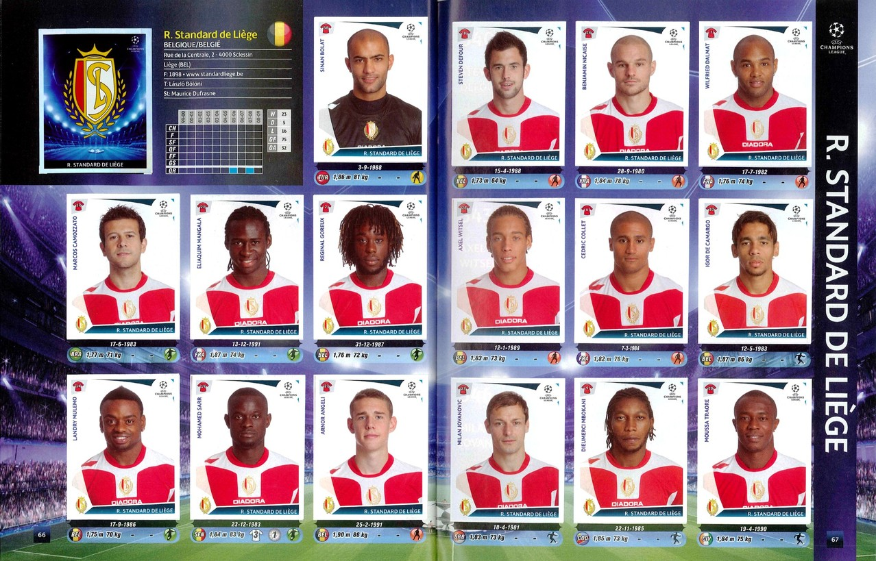 2009-10 - Panini Champions League - Pages 66 et 67 - Standard de Liège