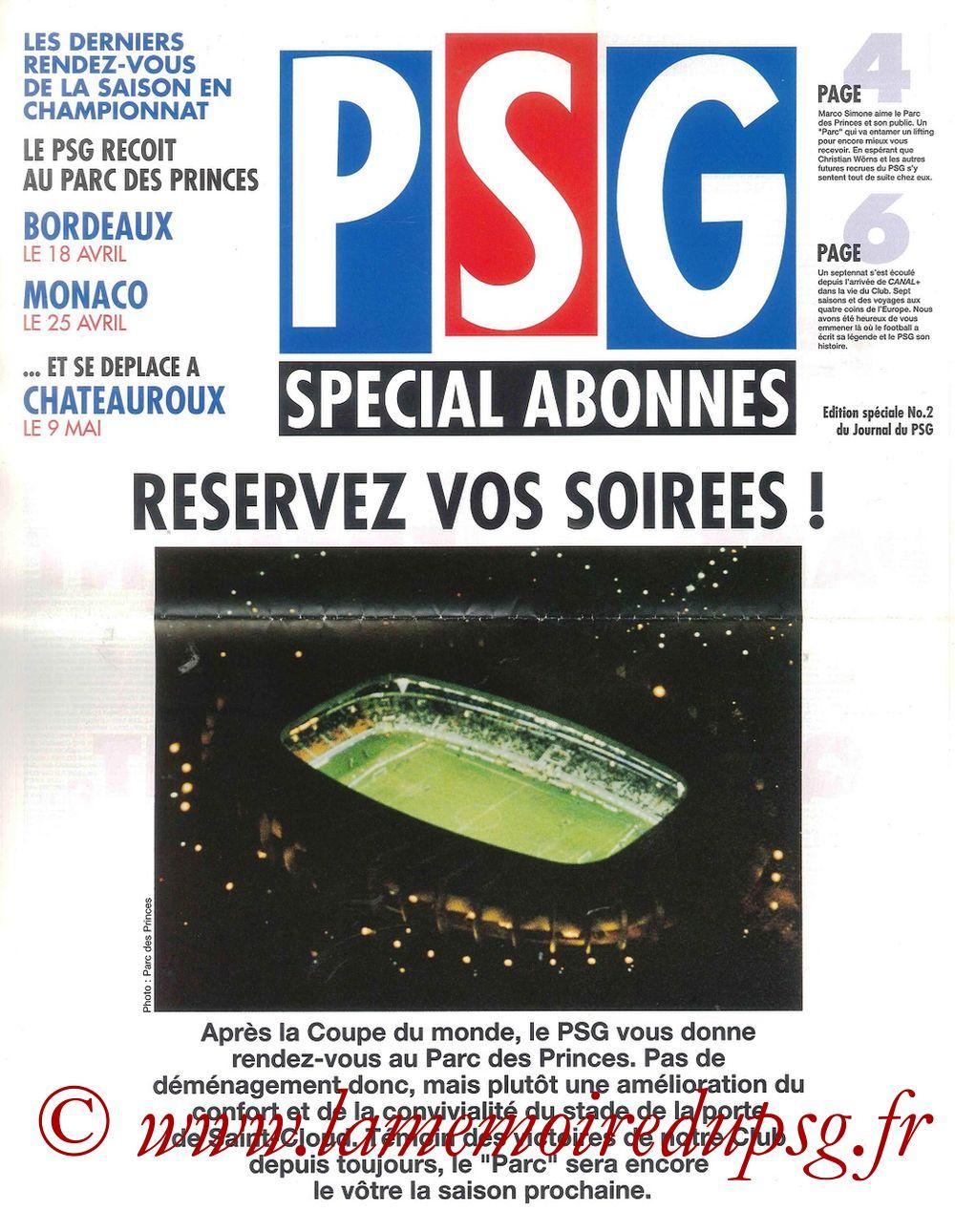 1998-04-13  Le Journal du PSG, Edition Spéciale Abonnés N°2