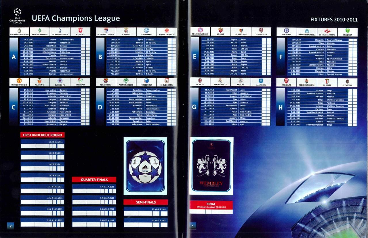 2010-11 - Panini Champions League - Pages 02 et 03 - Tableau des Poules