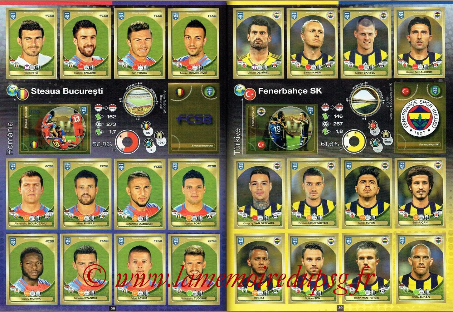 2016-17 - Panini FIFA 365 Stickers - Pages 38 et 39 - Steaua Bucarest + Fenerbahçe SK