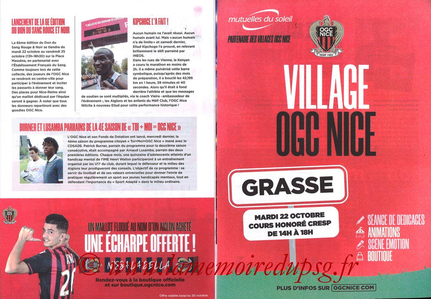2019-10-18  Nice-PSG (10ème L1, OGCNice Mag N° 333) - Pages 22 et 23