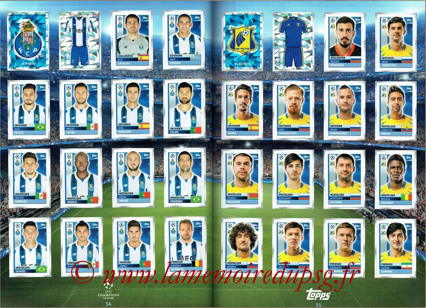 2016-17 - Topps UEFA Champions League Stickers - Pages 54 et 55 - FC Porto + FC Rostov