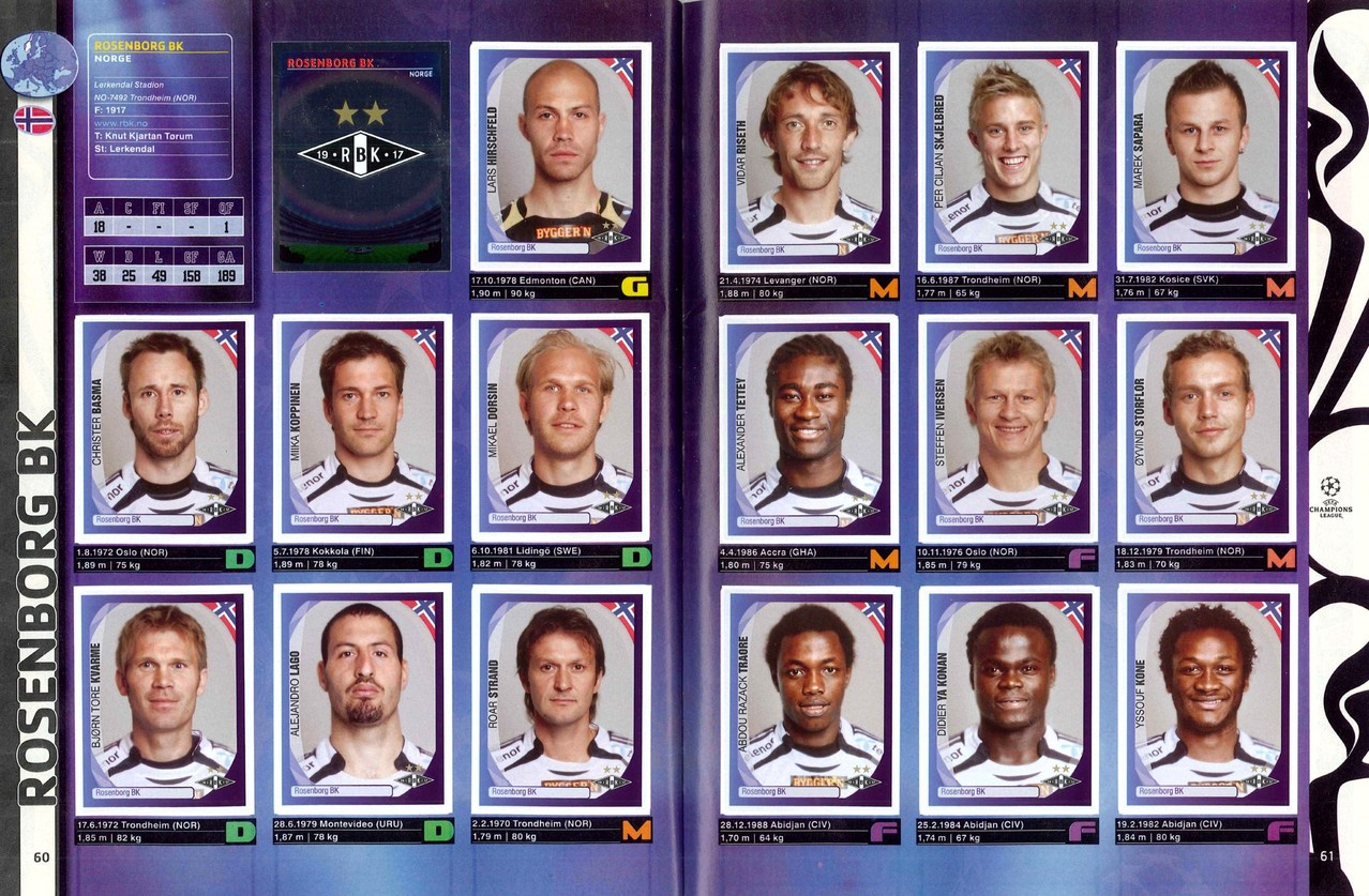 2007-08 - Panini Champions League - Pages 60 et 61 - Rosenborg BK