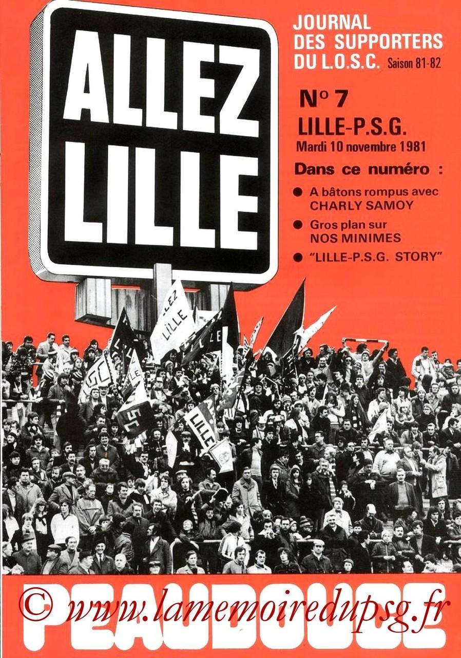 1981-11-10  Lille-PSG (18ème D1, Allez Lille N°7)