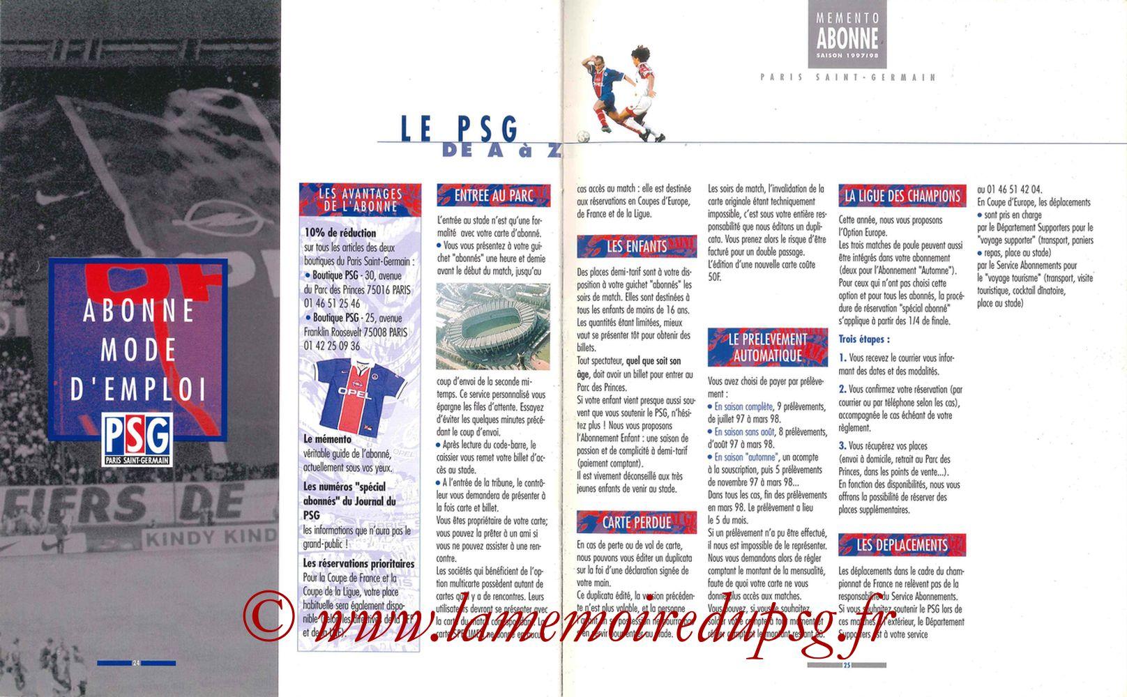 1997-98 - Guide de la Saison PSG - Pages 24 et 25