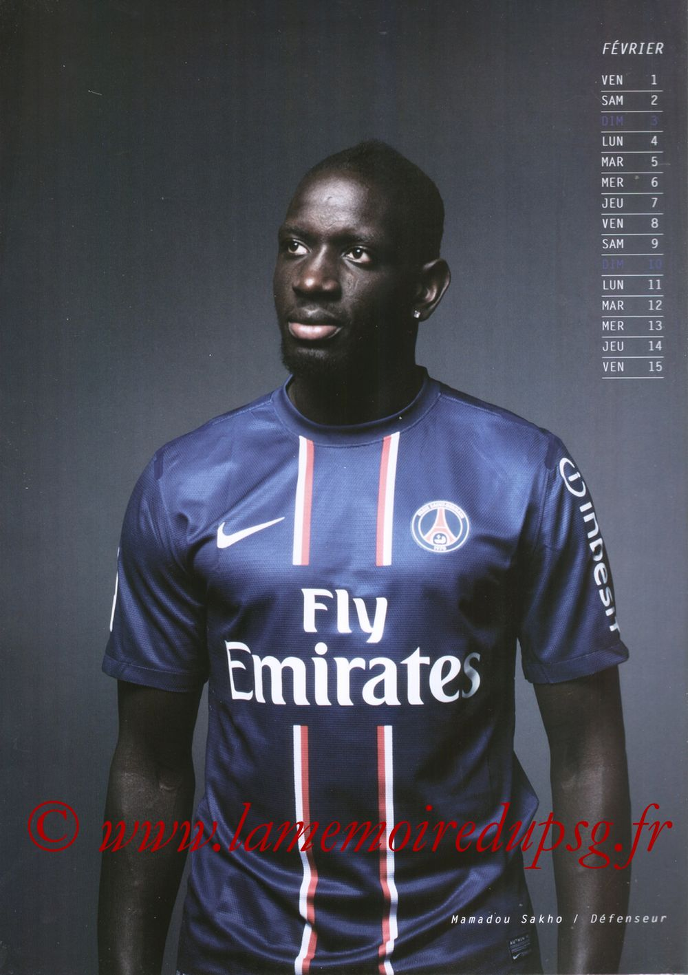 Calendrier PSG 2013 - Page 03 - Mamadou SAKHO