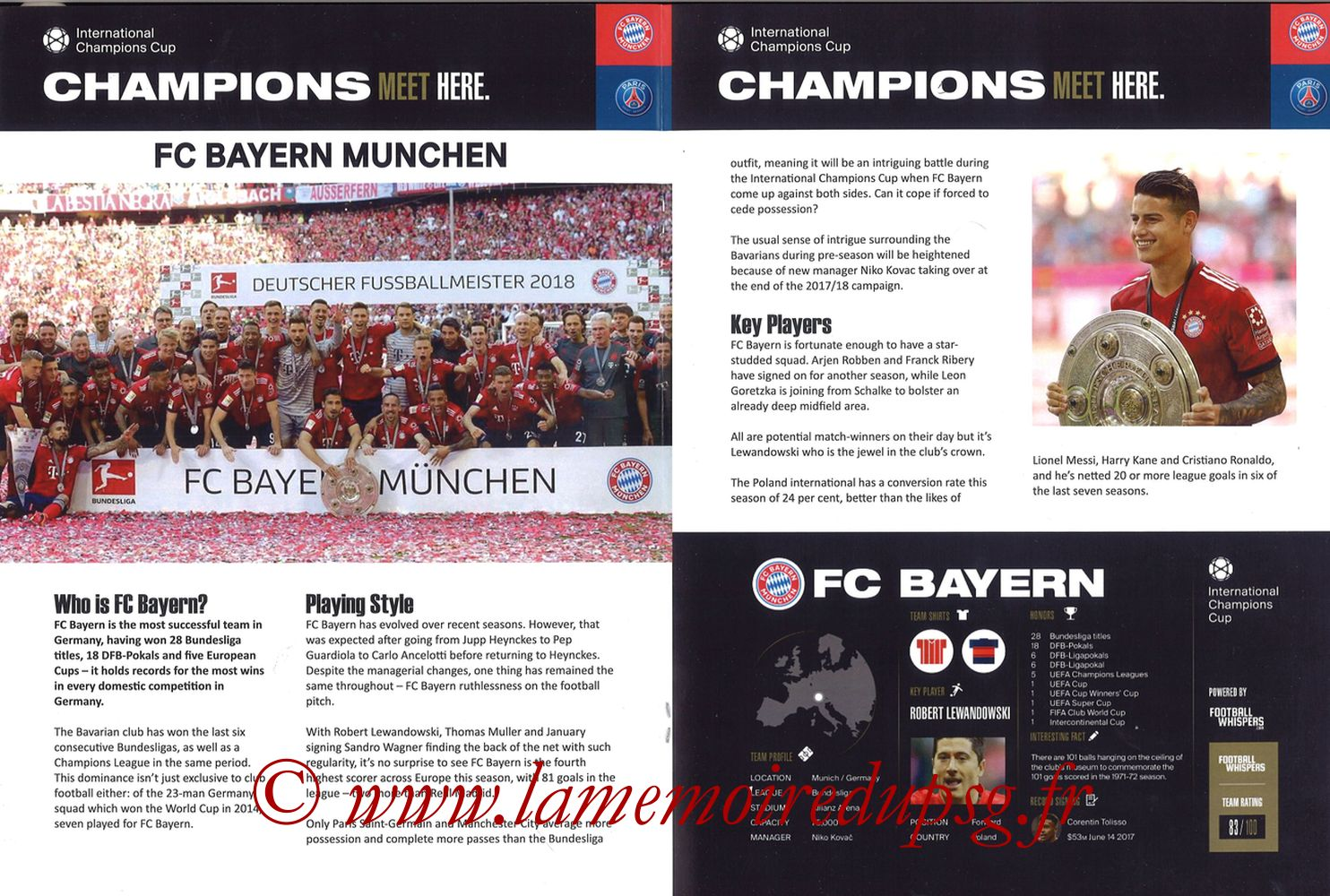2018-07-21  Bayern Munich-PSG (International Champions Cup à Klagenfurt, Programme pirate) - Pages 04 et 05