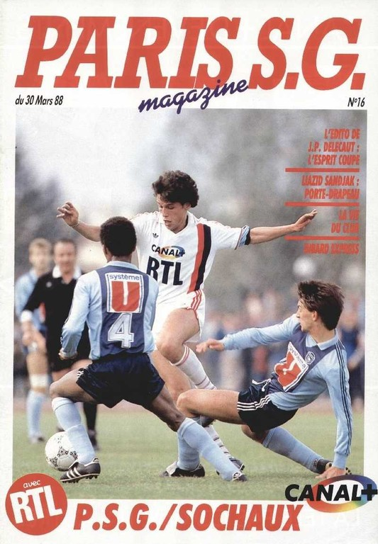 1988-03-30  PSG-Sochaux (16ème Finale Aller CF, Paris SG Magazine N°16)