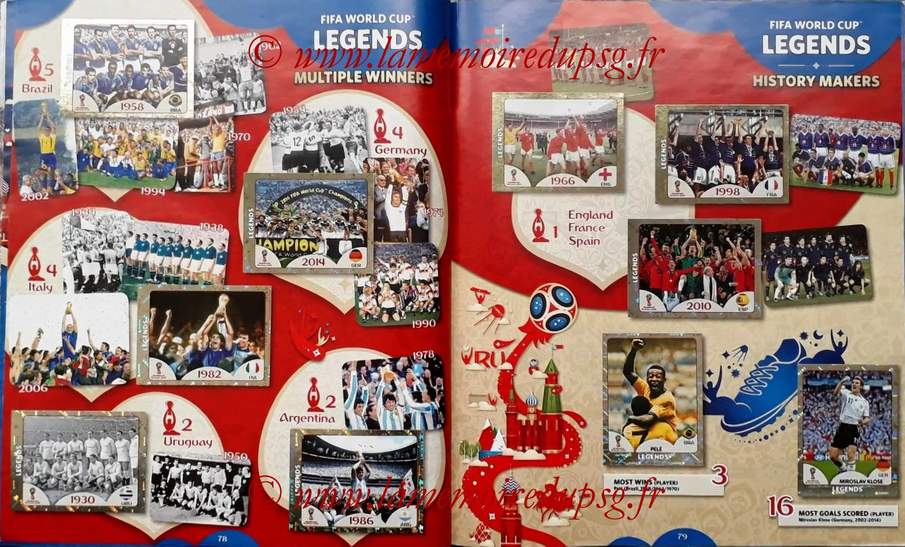 2018 - Panini FIFA World Cup Russia Stickers - Pages 78 et 79 - FIFA World Cup Legends