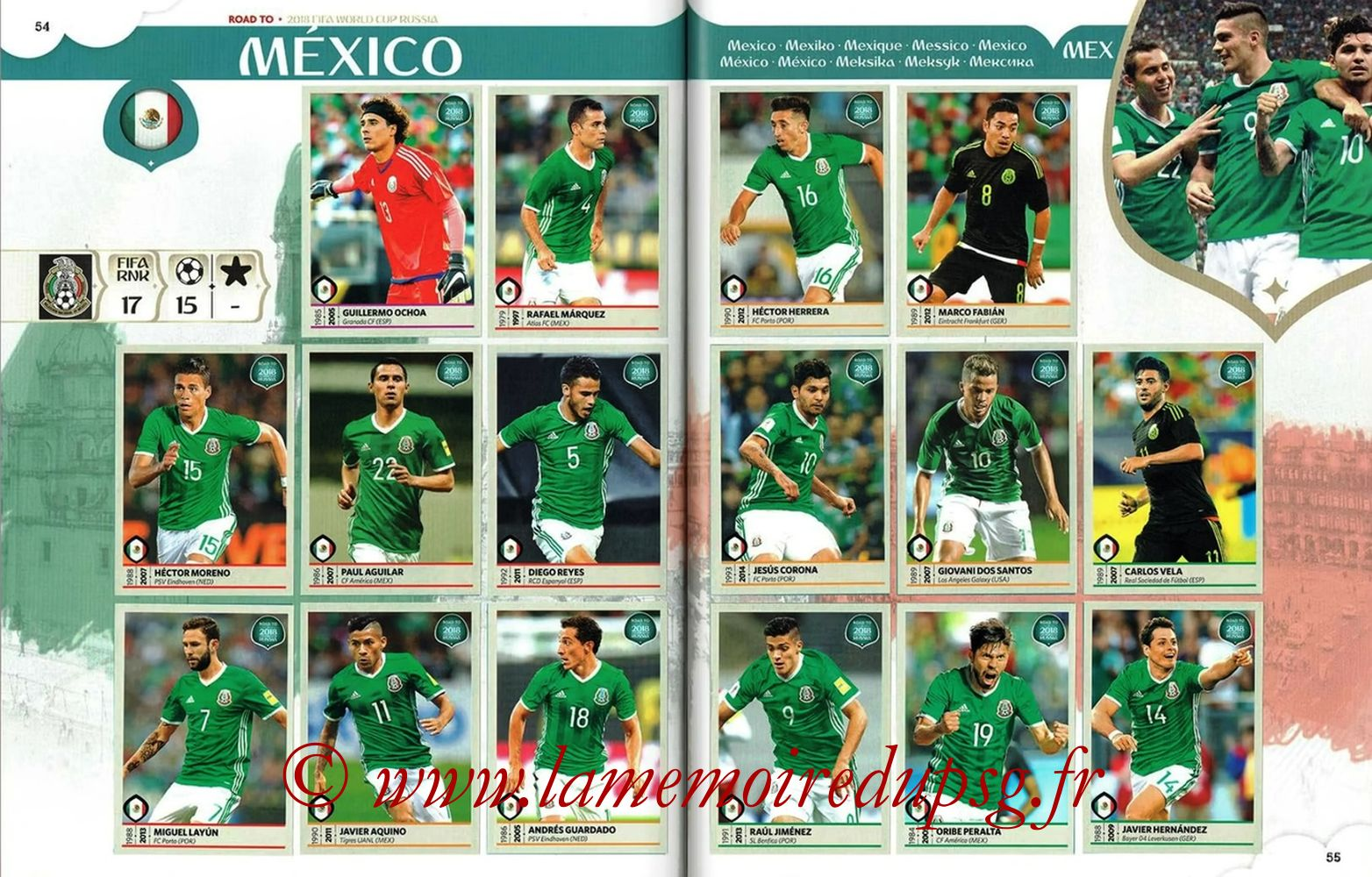 2018 - Panini Road to FIFA World Cup Russia Stickers - Pages 54 et 55 - Mexique
