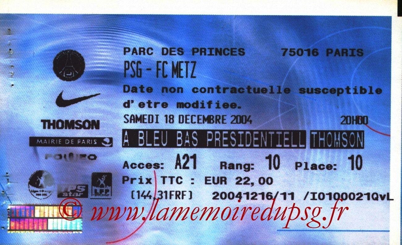 2004-12-18  PSG-Metz (19ème L1, Billetel)