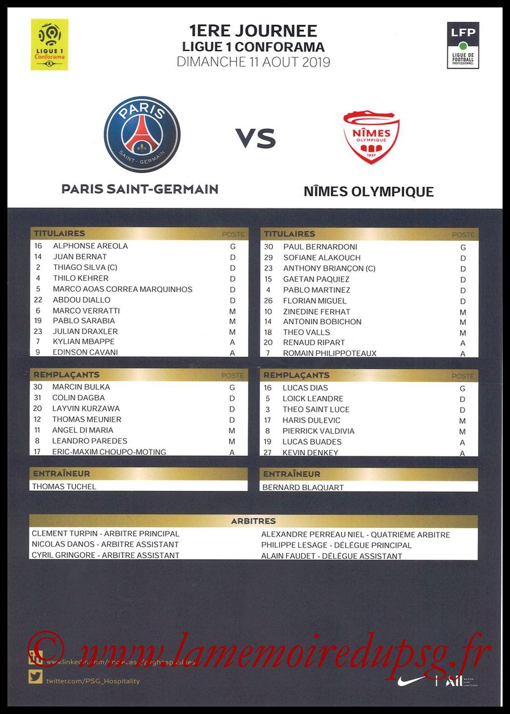 2019-08-11  PSG-Nîmes (1ère L1, Feuille de match)