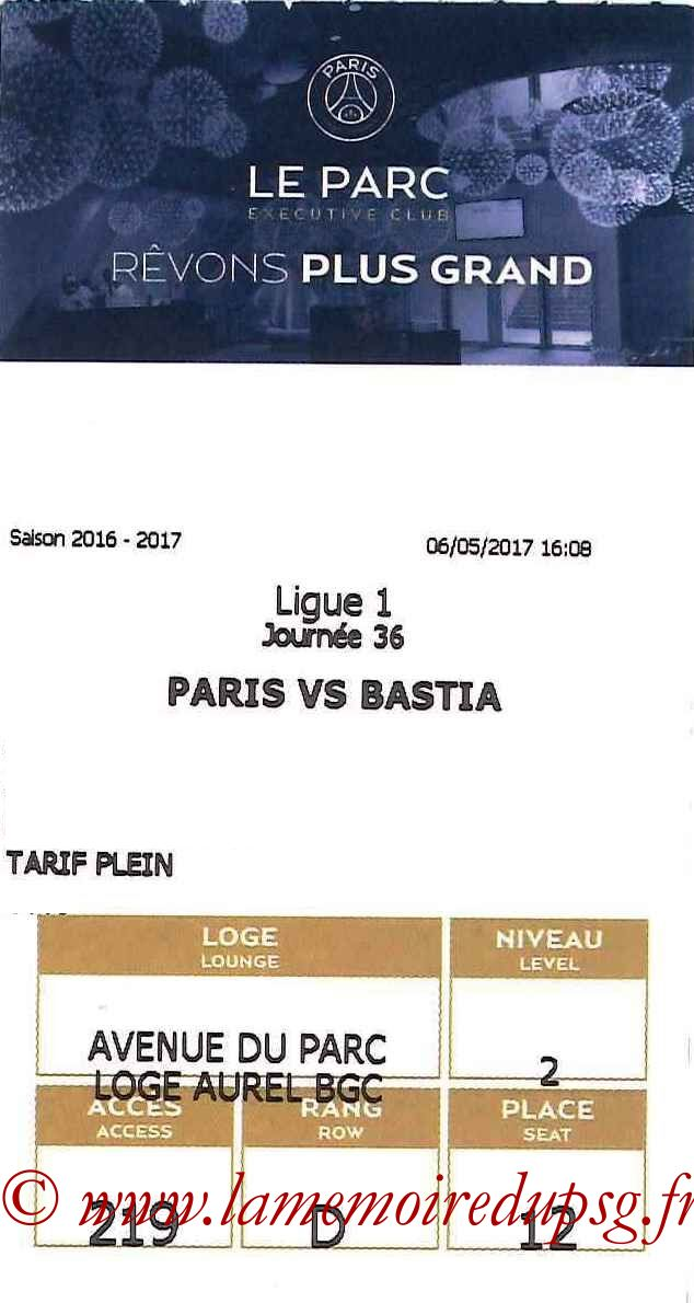 2017-05-06  PSG-Bastia (36ème L1, E-ticket Executive club)