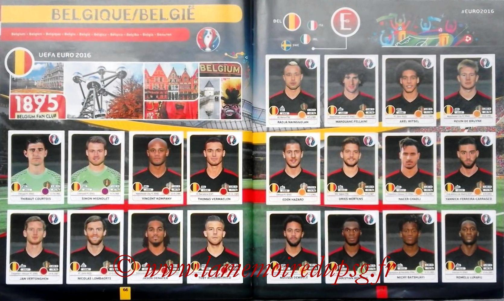 Panini Euro 2016 Stickers - Pages 66 et 67 - Belgique