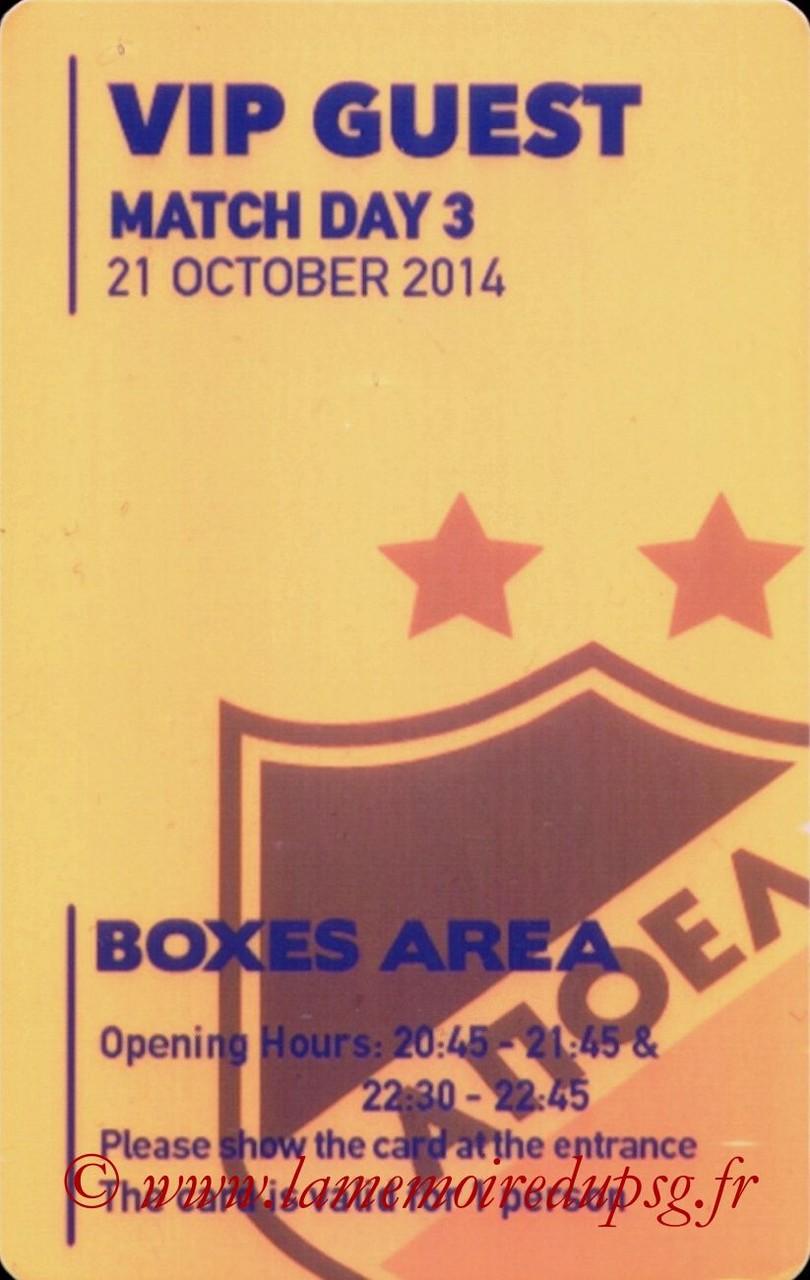 2014-10-21  Apoel Nicosie-PSG (3ème Poule C1, Badge VIP)