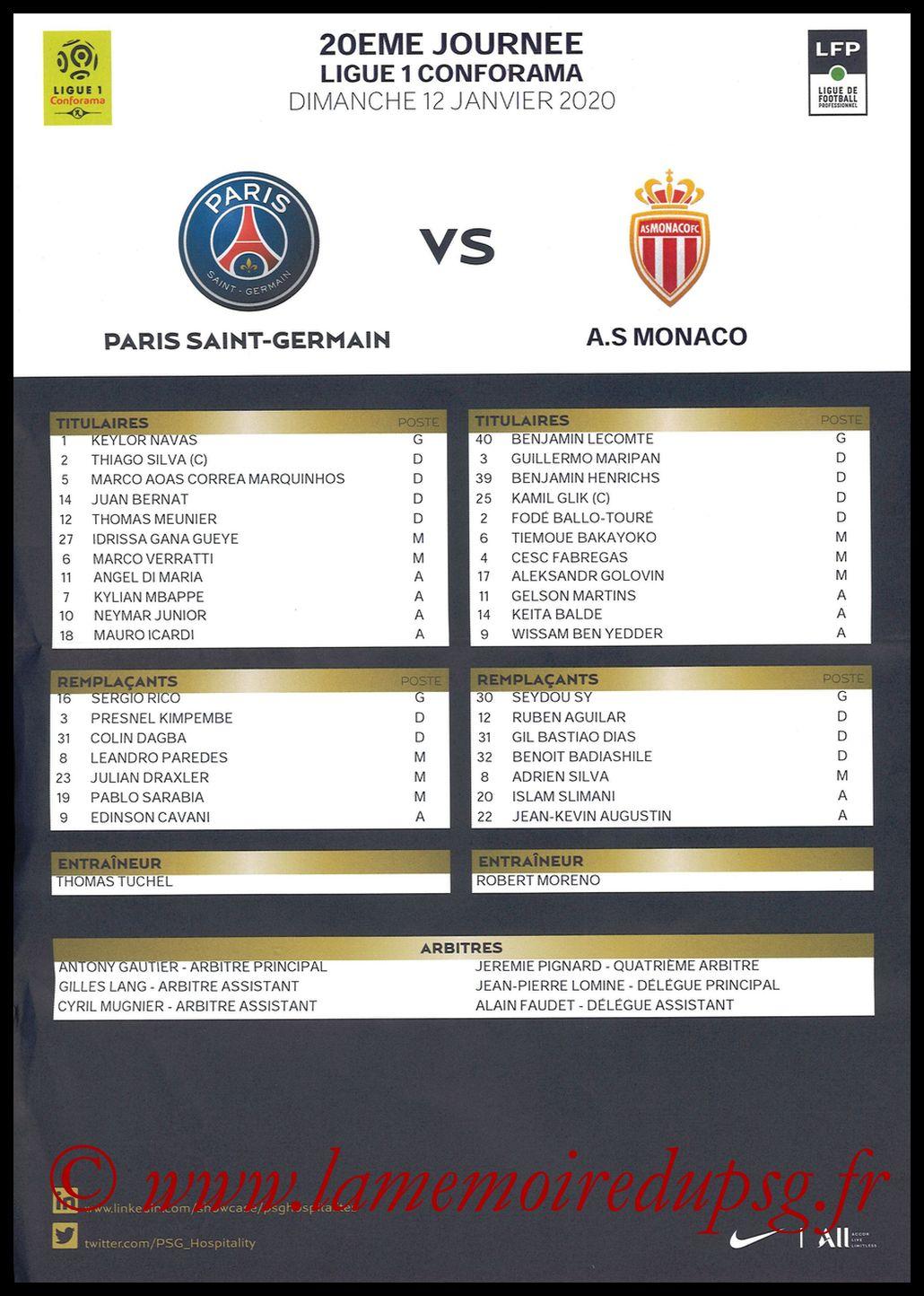 2020-01-12  PSG-Monaco (20ème L1, Feuille de match)
