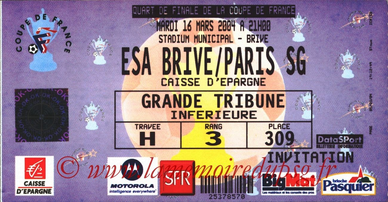 2004-03-16   Brive-PSG (Quart Finale CF)