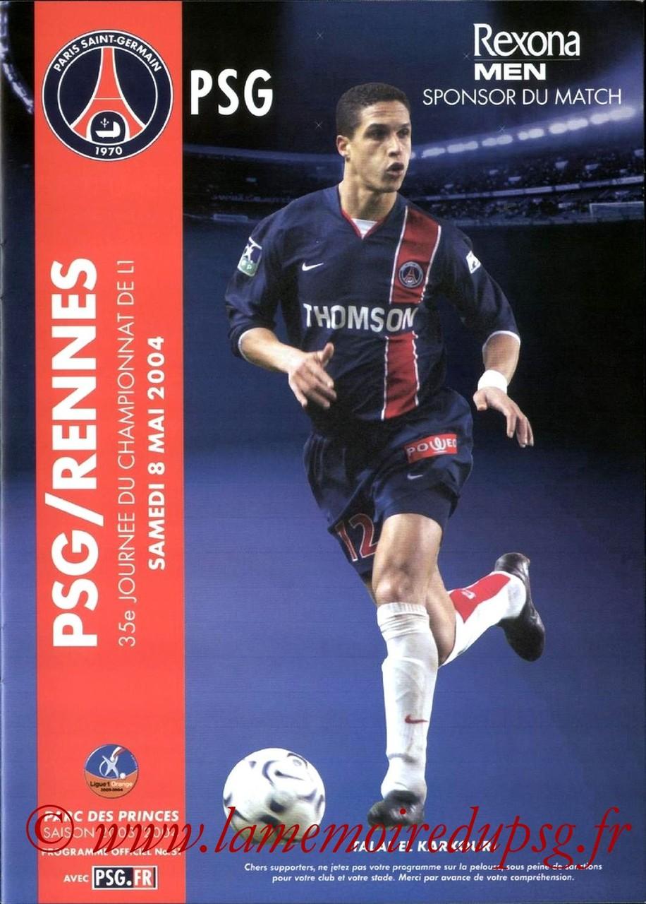 2004-05-08  PSG-Rennes (35ème L1, Programme officiel N°51)