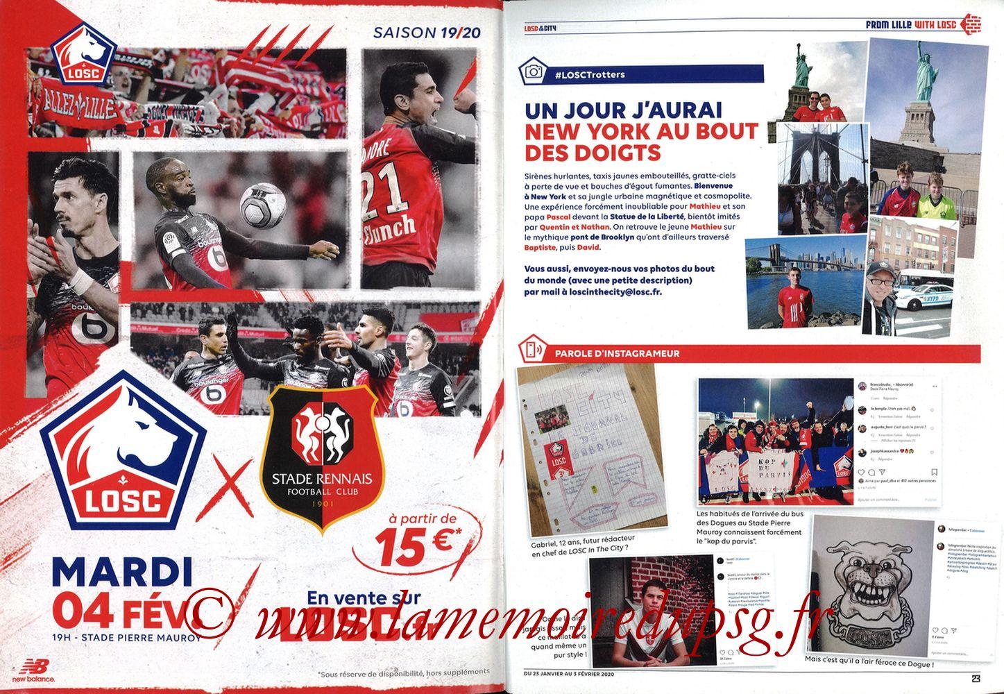 2020-01-25  Lille-PSG (21ème L1, Losc in the City N°41) - Pages 22 et 23