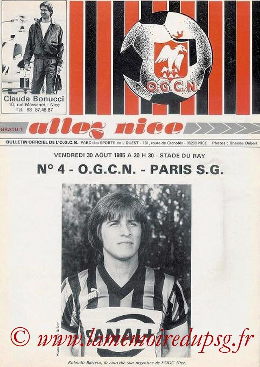 1985-08-30  Nice-PSG (9èmeD1, Allez Nice N°4)