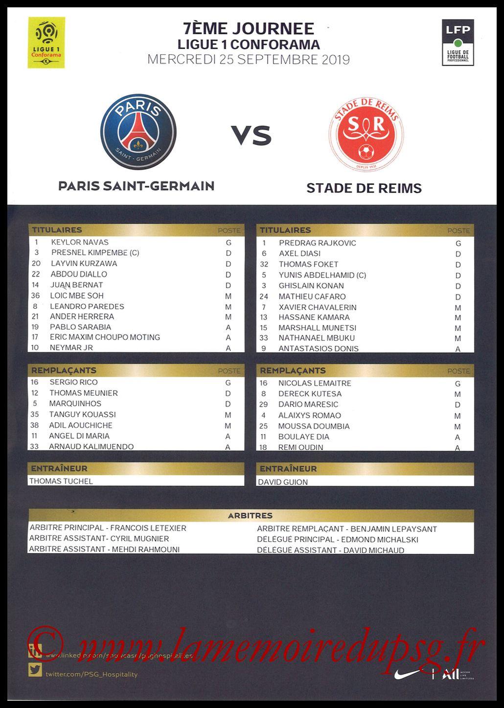 2019-09-25  PSG-Reims (7ème L1, Feuille de match)