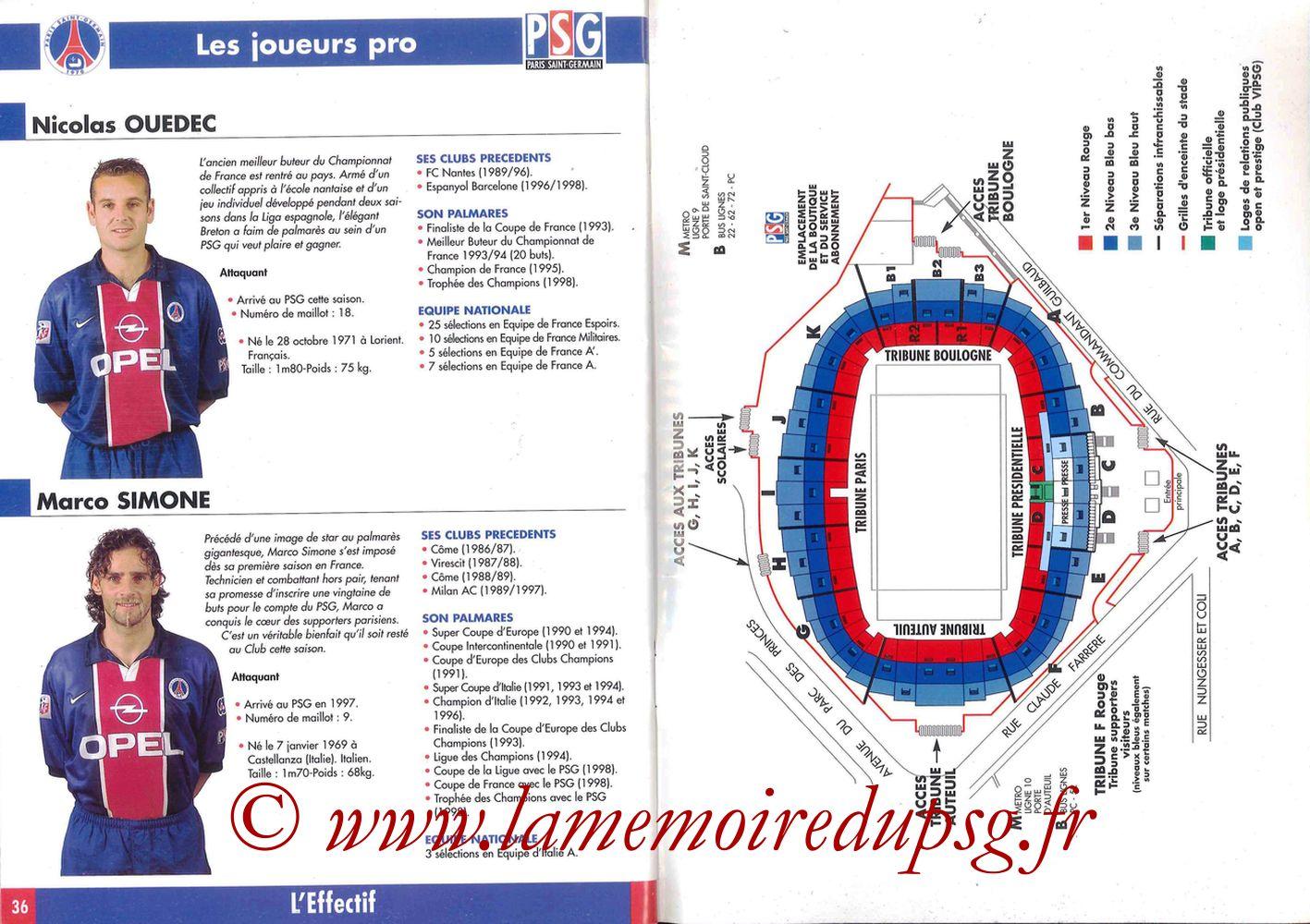 1998-99 - Guide de la Saison PSG - Pages 36 et 37