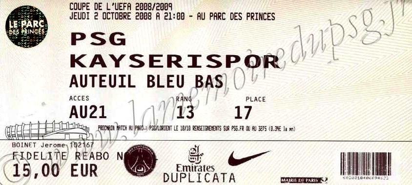 2008-10-02  PSG-Kayserispor (1er Tour Retour C3)