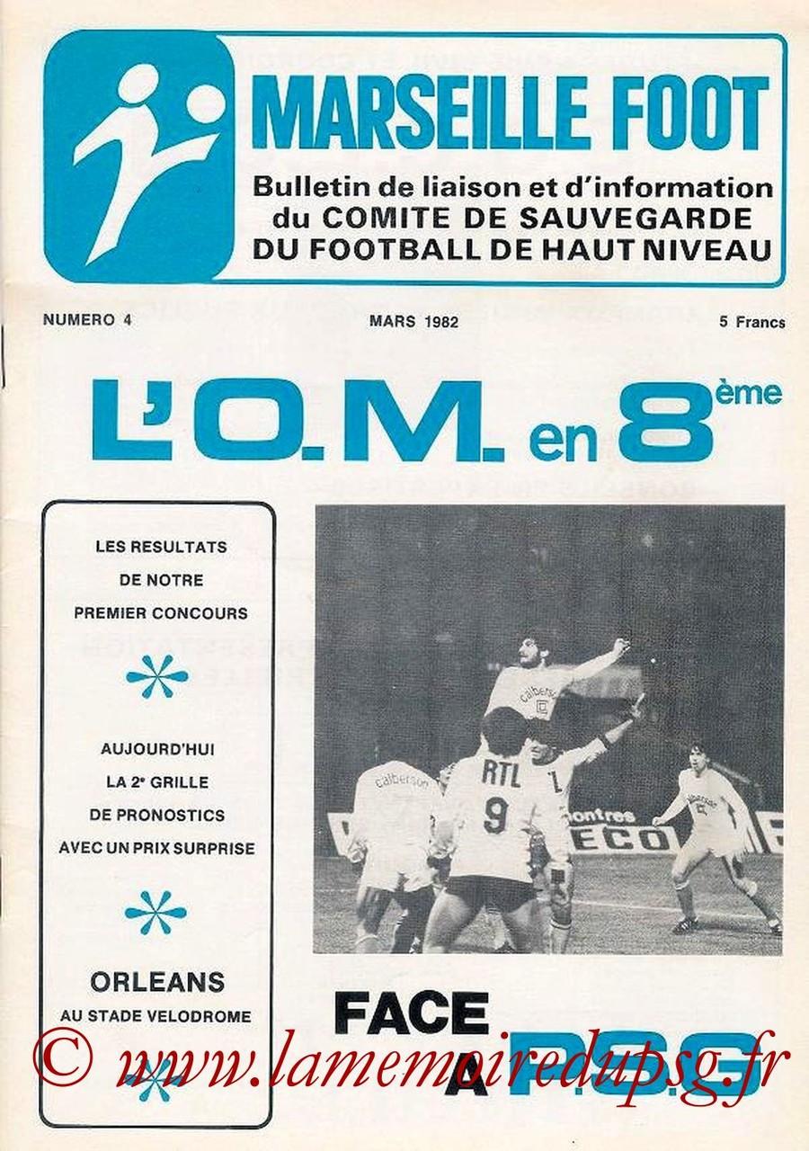 1982-03-30  Marseille-PSG (8ème Finale Aller CF, Marseille Foot N°4)