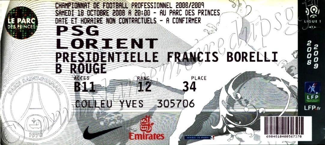 2008-10-18  PSG-Lorient (9ème L1, bis)
