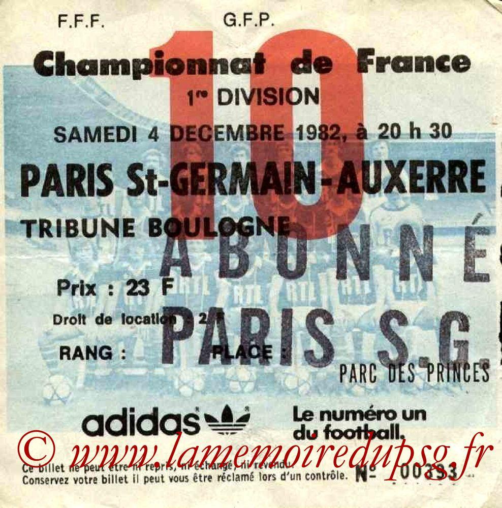 1982-12-04  PSG-Auxerre (18ème D1, Ticket N°10)