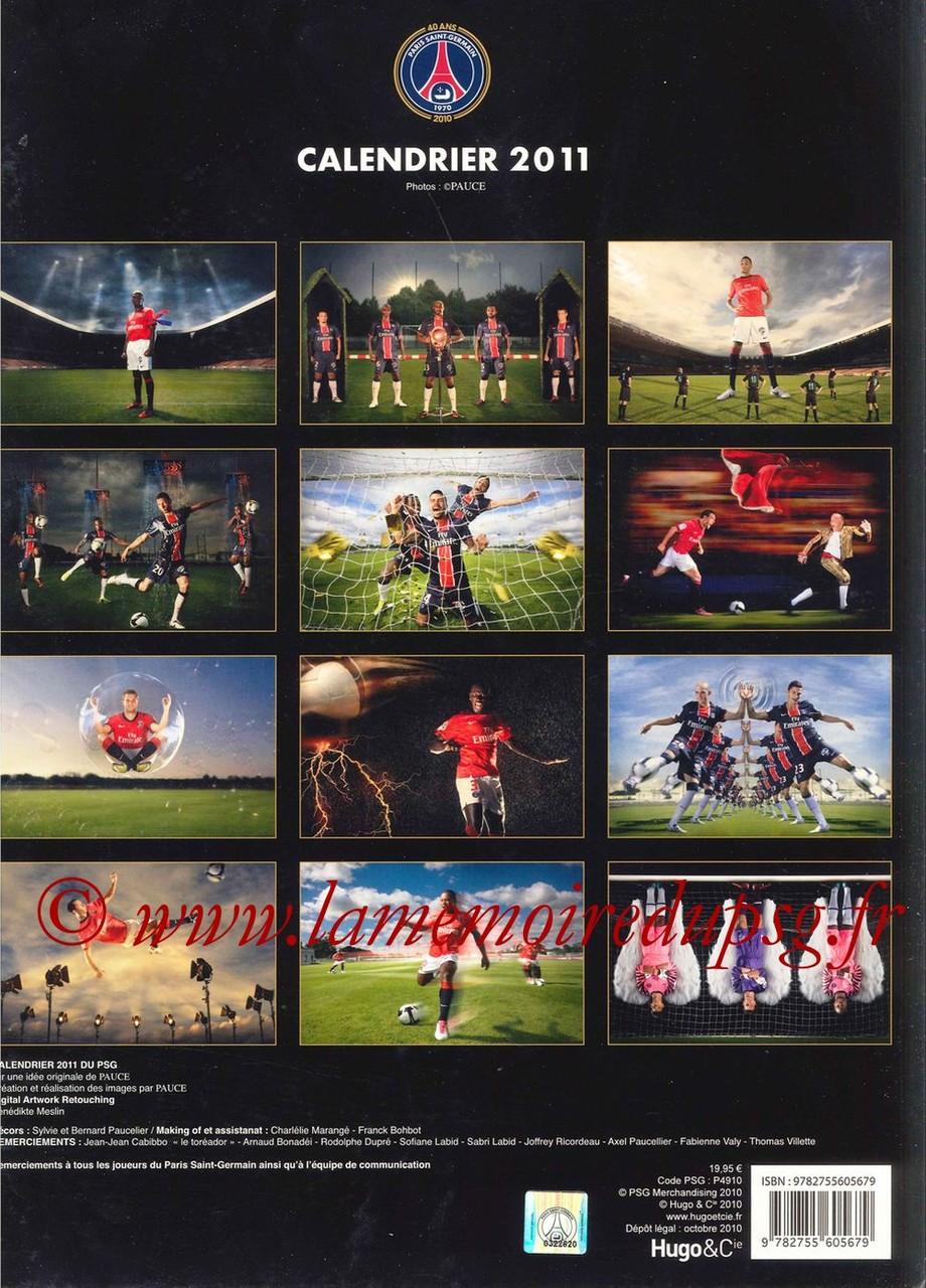 Calendrier PSG 2011 - Dos