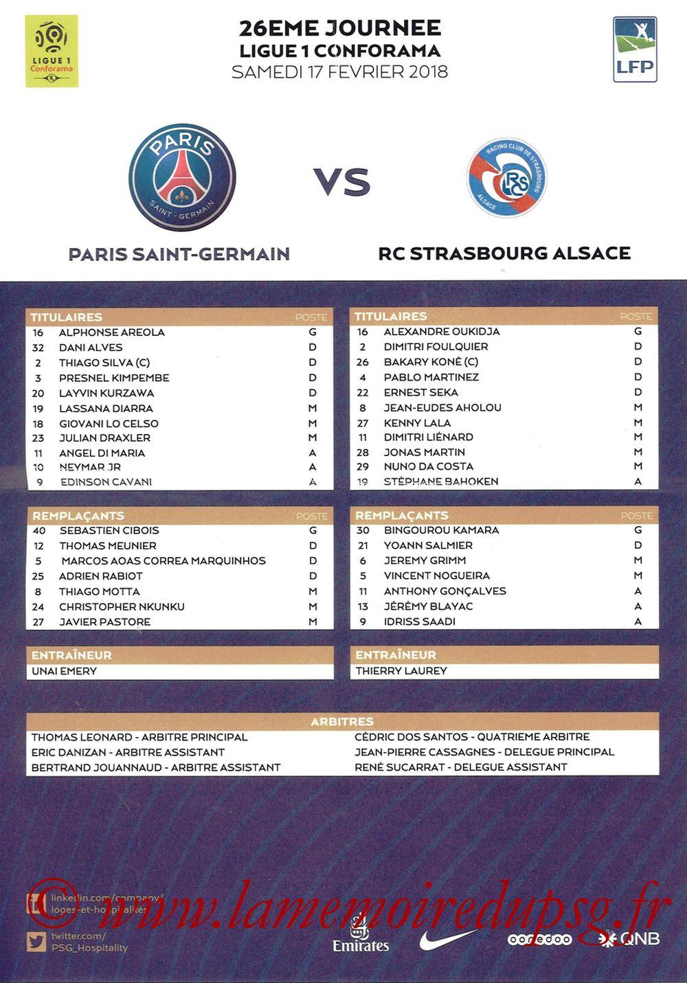 2018-02-17  PSG-Strasbourg (26ème L1, Feuille de match)