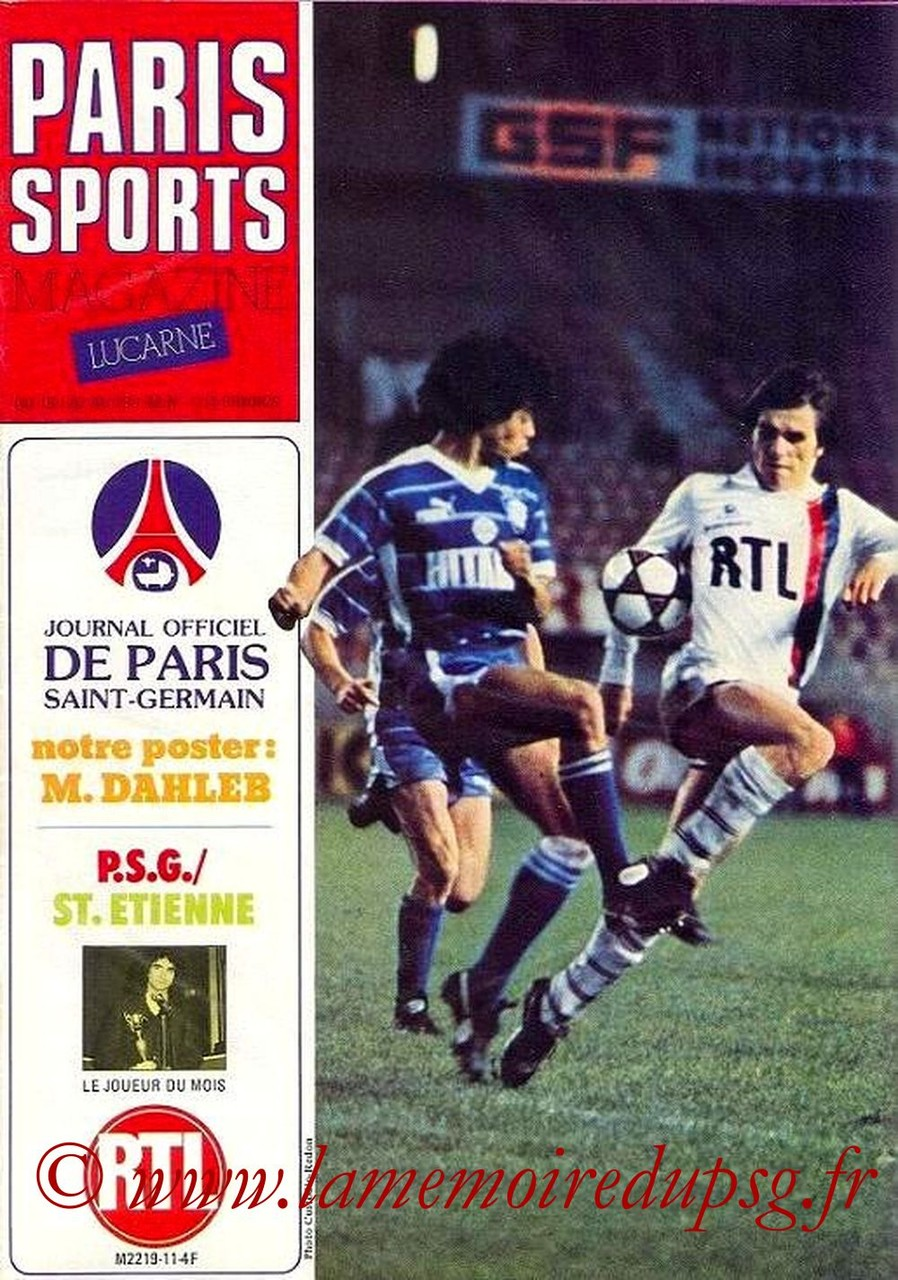 1982-01-16  PSG-Saint Etienne (23ème D1, Paris Sports Magazine N°11)