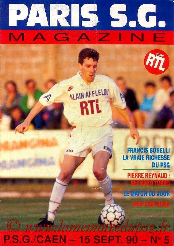 1990-09-15  PSG-Caen (9ème D1, Paris SG Magazine N°5)
