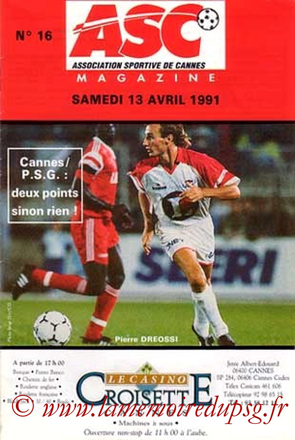1991-04-13  Cannes-PSG (33ème D1, ASC Magazine N°16, Collection JNT)