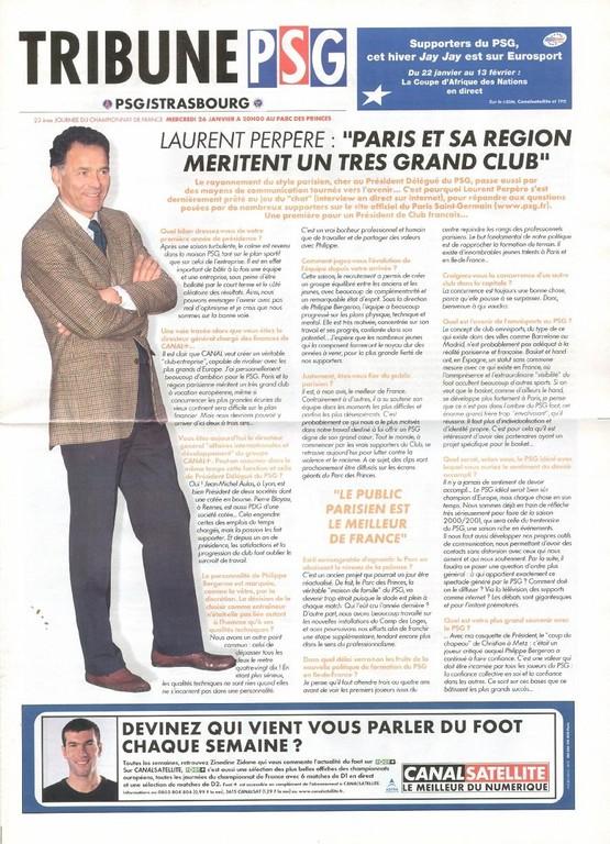 2000-01-26  PSG-Strasbourg (23ème D1, Tribune PSG N°9)