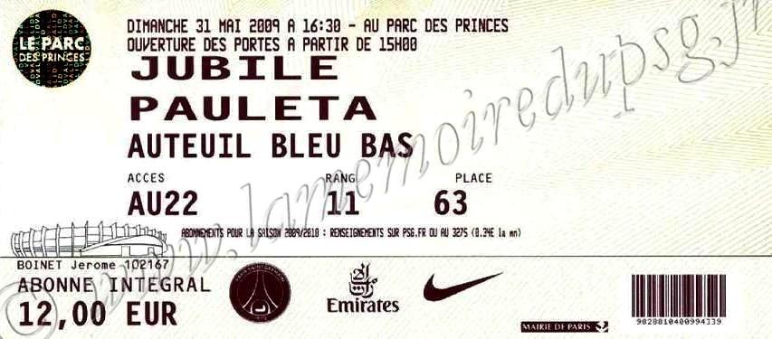 2009-05-31  PSG-Les Amis de Pauleta (Jubilé Pauleta au Parc des Princes)