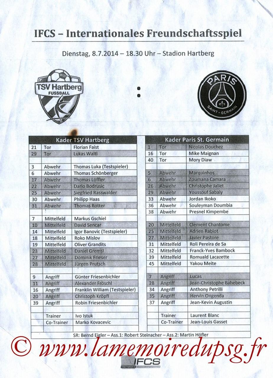 2014-07-08  Hartberg-PSG (Amical à Hartberg, Feuille de match)