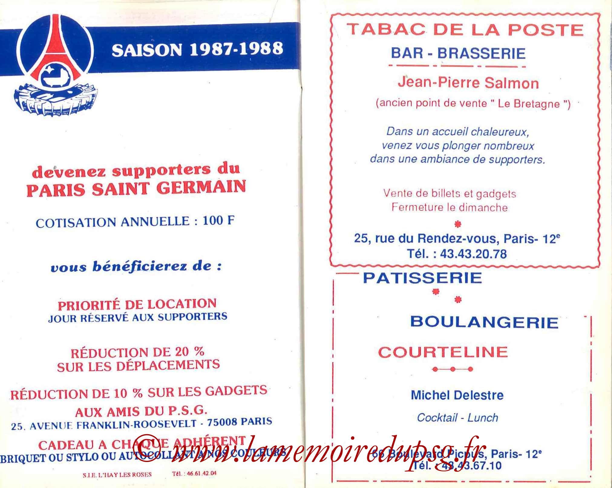 1987-88 - Guide de la Saison PSG - Pages 20 et 21