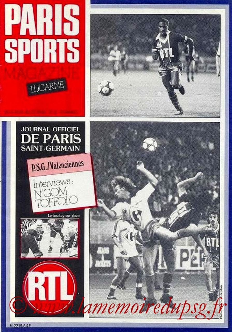1981-10-06  PSG-Valenciennes (13ème D1, Paris Sports Magazine N°6)
