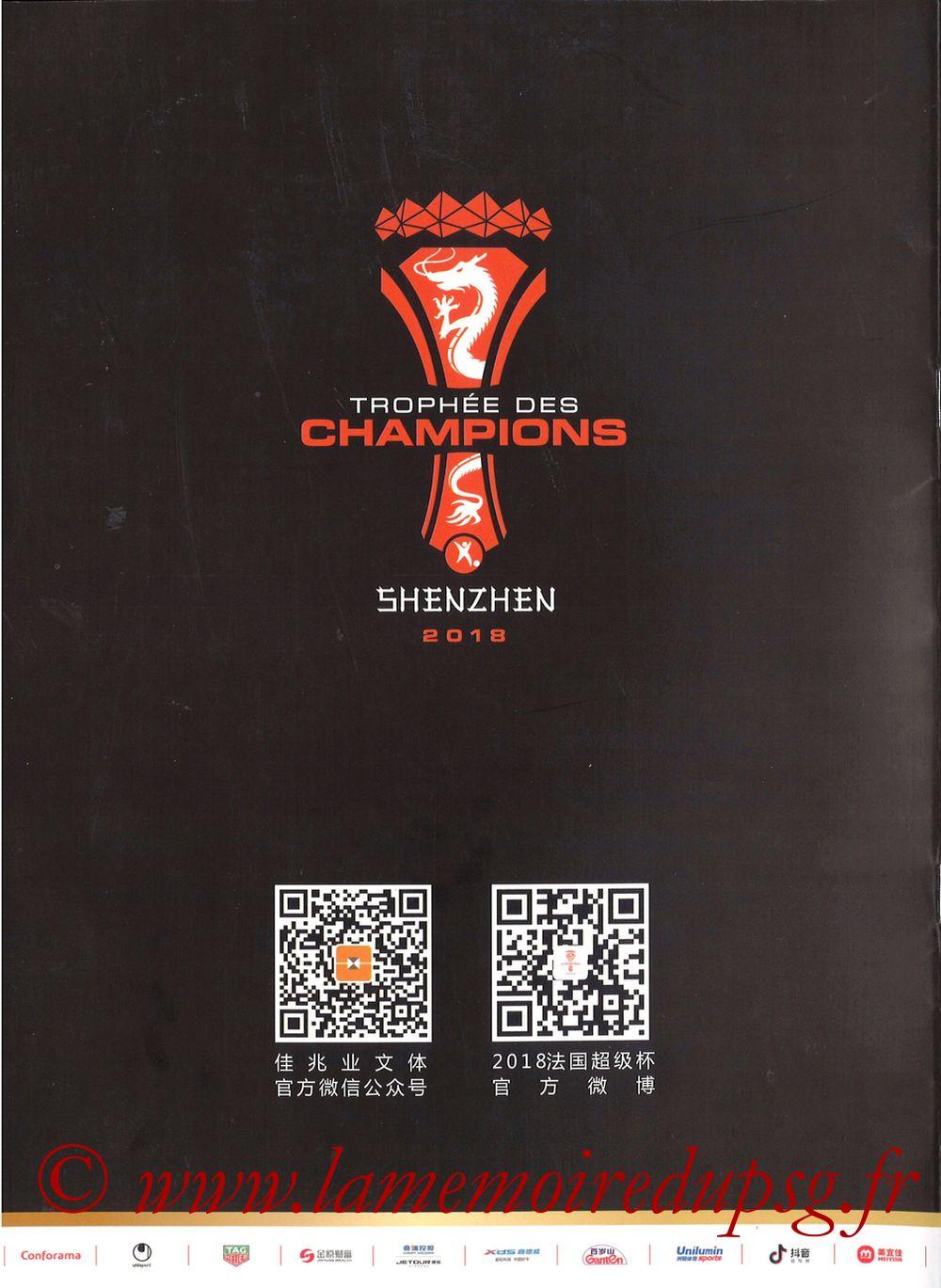 2018-08-04  PSG-Monaco (Trophée des Champions à Shenzhen, Media Guide) - Pages 00