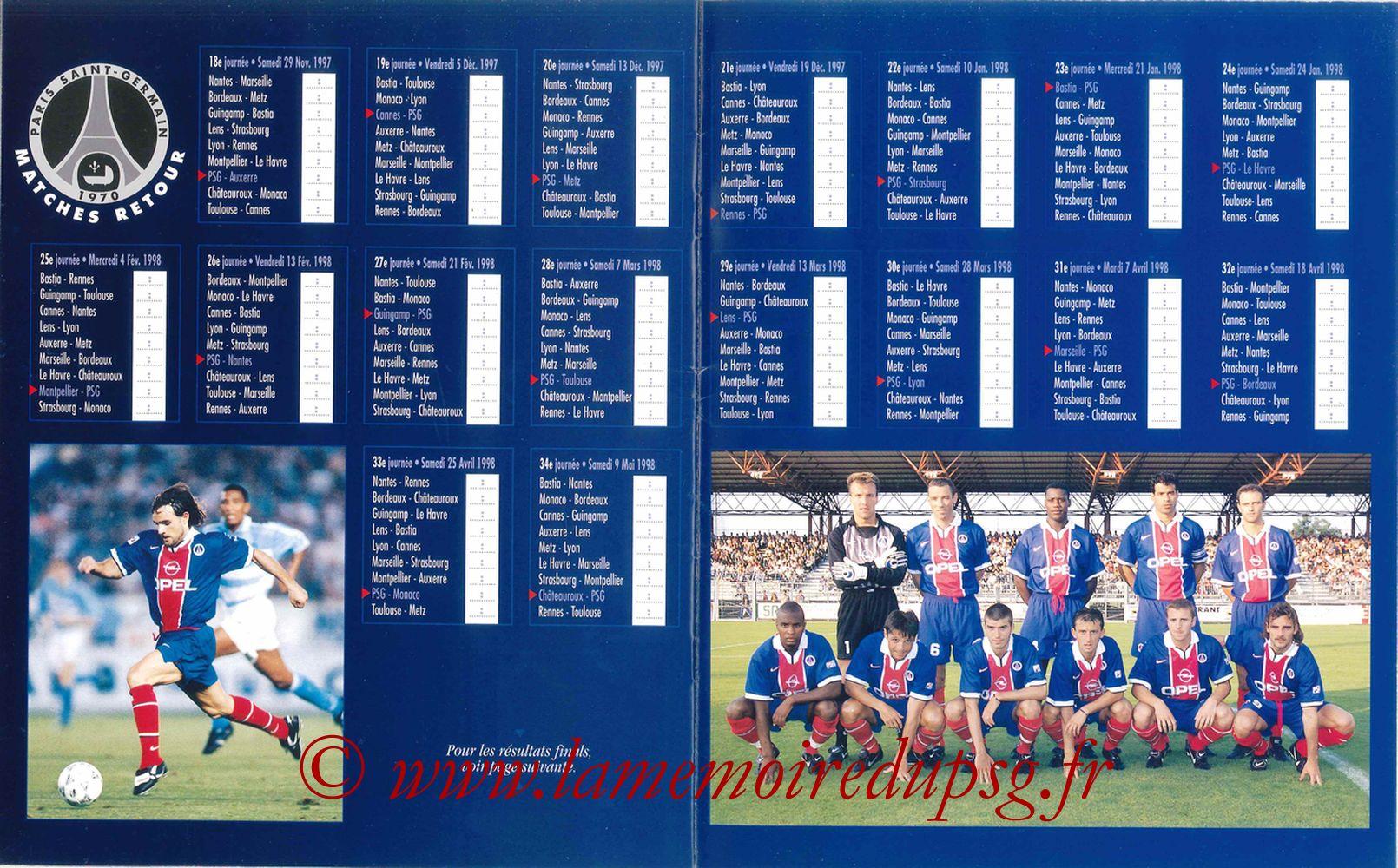 1997-98 - Guide de la Saison PSG - Pages 20 et 21