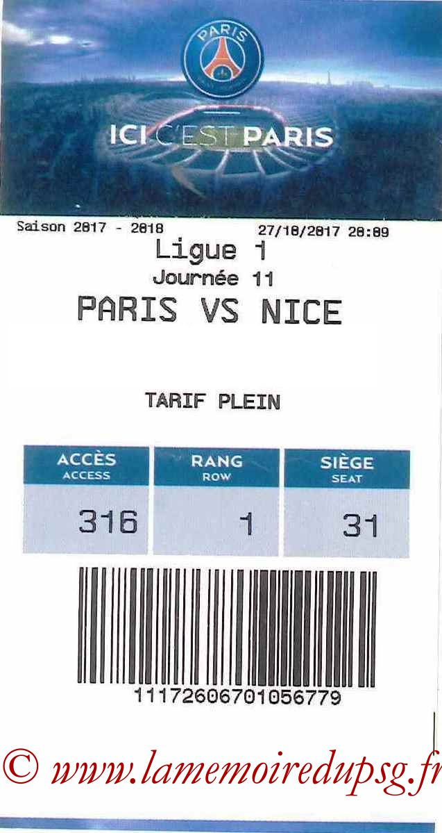 2017-10-27  PSG-Nice (11ème L1, E-ticket)